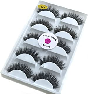 3D Mink False Eyelashes Extensions LASGOOS Siberian Luxurious Natural Cross Thick Long Wedding Fake Eye Lashes 5 Pairs/Box MY-014x5