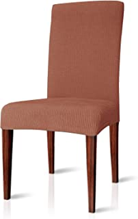 CHUN YI Dining Chair Covers Stretch Jacquard Polyester Spandex Anti-Stain Washable Dining Room Parsons Chair Slipcovers (2pcs, Brick)