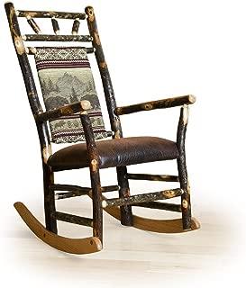 Rustic Hickory Straight Back Rocker - Bear Mountain Fabric - Amish Made