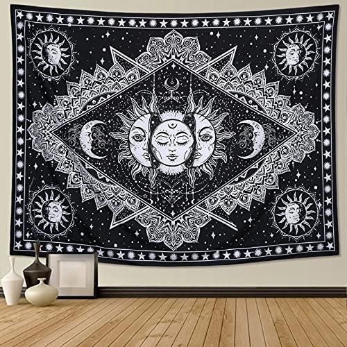 Dremisland Tapisserie Murale Psychédélique Noir et Blanc Tapisserie Lune Soleil avec étoile Tapisserie Esthétique Tenture Murale Faces Mandala Tapis Mural pour Chambre Salon(Soleil, L / 148x200cm)