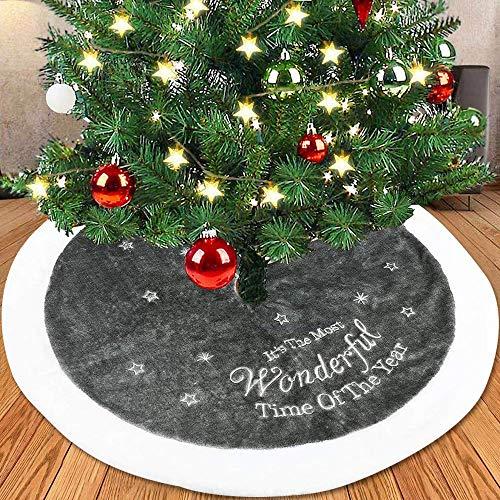 Weihnachtsbaum Rock PlüSch Dekoration,Weihnachtsbaum RöCke,Weihnachtsschmuck,Boden Dekoration Weihnachtsdekorationen,Baumschmuck FüR Weihnachtsfeiertag Dekorationen,Grau,90cm