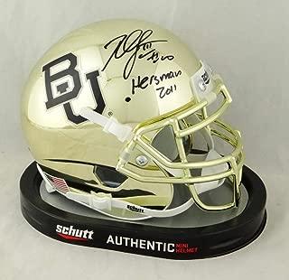 Robert Griffin III Autographed Baylor Bears Gold Chrome Schutt Mini Helmet w/Heisman- Tristar Auth