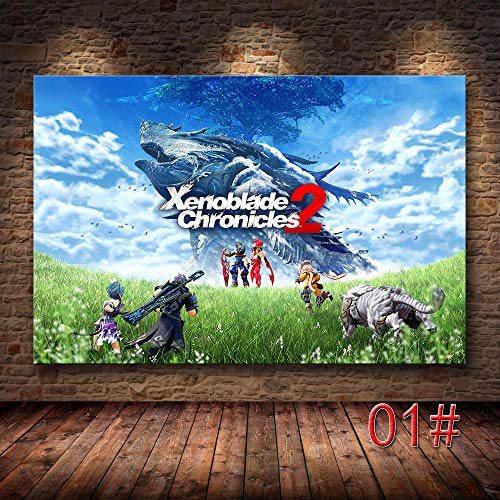 wsqyf Xenoblade Chronicles 2 Classic Video Game HD Poster Canvas Home Room Wall Art Printing Decor Canvas Printing Anime poster/60x90cm (no Frame)