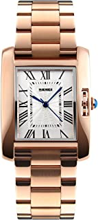 SKMEI Women Watch Rectangle Rose Gold Silver Stainless Steel Waterproof Luxury Quartz Analog