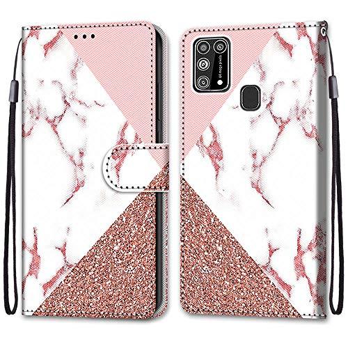 Nadoli Handyhülle Leder für Samsung Galaxy M31,Bunt Bemalt Rosa Marmor Trageschlaufe Kartenfach Magnet Ständer Schutzhülle Brieftasche Ledertasche Tasche Etui