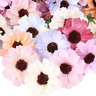 100pcs Têtes de Fleurs Artificielles Gerbera Marguerite Faux Fleur en Tissu Soie Décoration Scrapbooking pour Table Maison...