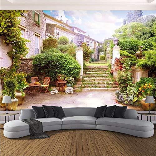 Papel tapiz fotográfico 3D Ciudad pequeña Jardín Paisaje Murales Sala de estar Café Restaurante Telón de fondo Pintura de pared