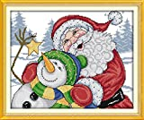 YEESAM ART Cross Stitch Kits Stamped for Adults Beginner Kids, Santa Claus Snowman Christm...