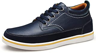 XUJW-Shoes, Fashion Sneaker for Men Sports Shoes Lace Up Style OX Leather Easy Care Durable Comfortable Walking Shopping Travel Driving Height Increasing Insole (Color : Blue, Size : 6.5 UK)