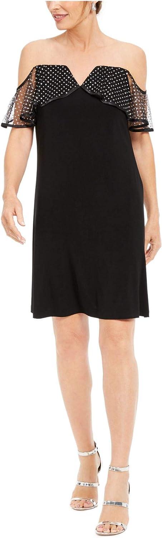 MSK Womens Black Short Sleeve Off Shoulder Knee Length Shift Cocktail Dress Size