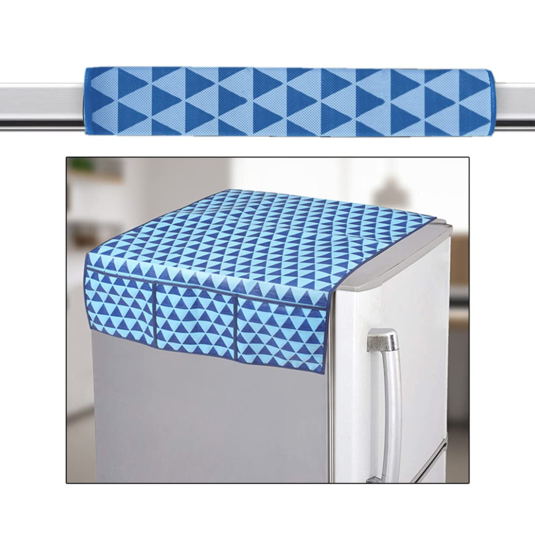 PrettyKraftsAppliance Cover Combo of 1 Refrigerator Top Cover and 1 Handle Cover - (Blue) Set of 2
