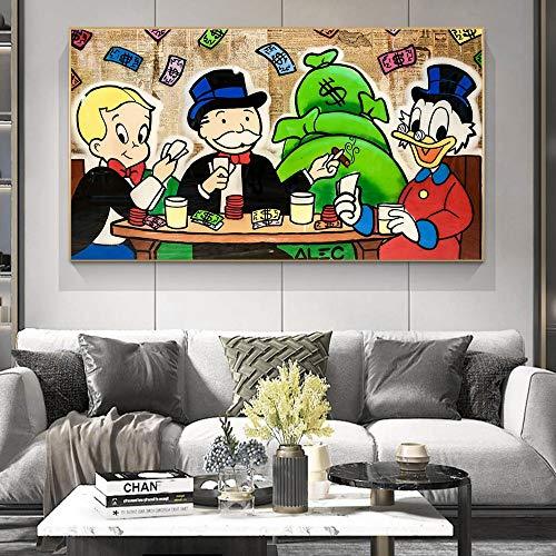 Cuadro sobre Lienzo - Impresión en LienzoCalle Monopoly de Alec en Graffiti 90X160cmArte de Pared para Sala de Estar