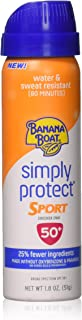 Banana Boat Sunscreen Simply Protect Sport Broad Spectrum Mineral Sunscreen Spray, TSA Approved Size, SPF 50+, 1.8 oz