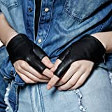 FIORETTO Womens Half Finger Fingerless Driving Motorcycle Leather Gloves Unlined Black S