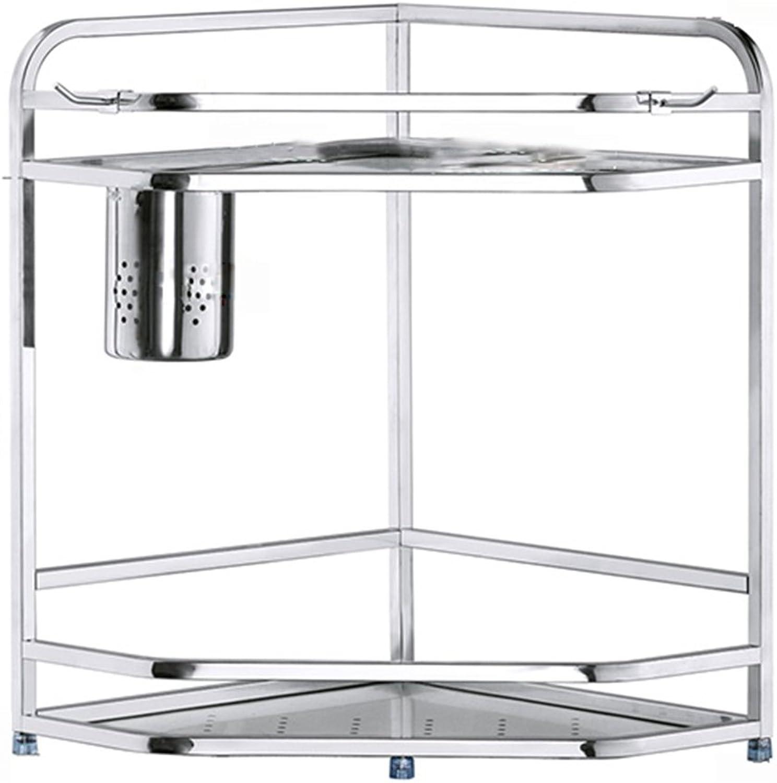 ZZHF yushizhiwujia Storage Racks 304 Stainless Steel Shelf Turning Corner Condiment Kitchenware Supplies Storage Shelves (Size   40  29  29CM2 )