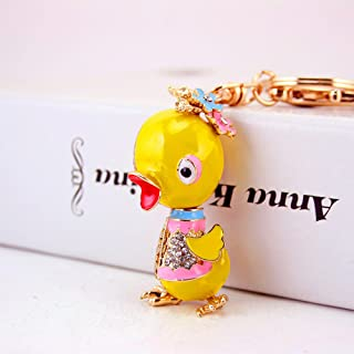 Jzcky Shzrp Lovely Duck Crystal Rhinestone Keychain Key Chain Sparkling Key Ring Charm Purse Pendant Handbag Bag Decoration Holiday Gift