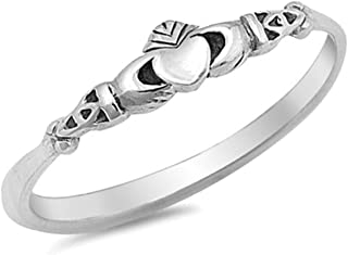 Petite Dainty Plain Simple Heart Claddagh Promise Ring 925 Sterling Silver