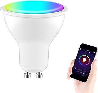 Bombilla de luz LED inteligente WiFi Funciona con Alexa Google Home, GU10 4W RGBCW 400LM Luz blanca cálida Foco regulable con voz Tuya/Smart Life App Control