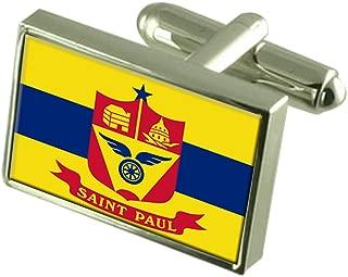Saint Paul City United States Flag Cufflinks Engraved Box