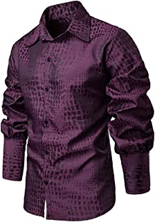 Mogogo Men's Retrol Button-Up Medieval Bishop Sleeve Snake Printed Shirts