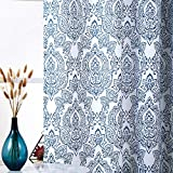 Fmfunctex White Blue Curtains for Living Room 84 Inch Long Vintage Damask Printed Window Curtain Panels for Bedroom Grommet Top Floral Pattern Draperies 2 Pcs