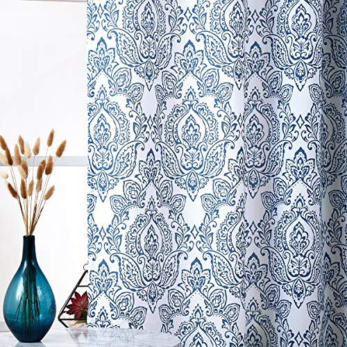 """Fmfunctex Blue and White Print Curtains 95"""" Long Damask Curtain Panels for Living Room Bedroom Window Draperies for Farmhouse Grommet Top 50"""" w x Set of 2"""