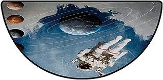 浴室 足拭きマット速乾 洗える ラグ ミニマット 丸洗える 50*80cm バスマット ふわふわ 玄関マット足ふきマットお風呂 宇宙空間の装飾、幾何学図形を含む惑星の円海王星アストラルロケットヴィンテージプリント、マルチ
