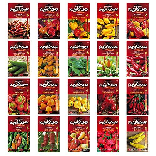 Kit 20 Beutel Chilli Seed Collector's Edition - VogliaPiccante Line - 20 Sorten Chili Pepper in der Scoville-Skala