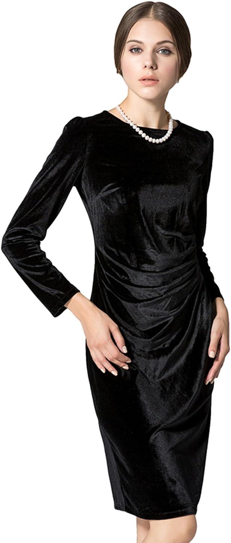 LIMATRY Women's Long Sleeve gold Velvet Velvet Dress