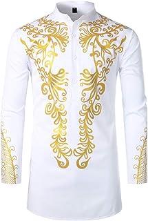Mens African Dashiki Shirt Metallic Floral Printed Slim Fit Long Sleeve T-Shirts Traditional Ethnic Blouse