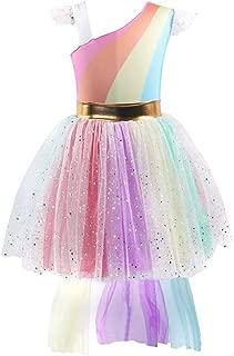 Little Big Girl Unicorn Costume Rainbow Tutu Princess Birthday Pageant Party Dress Fancy Dress Up Halloween Cosplay