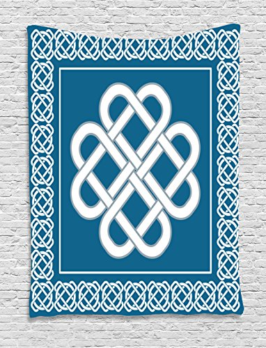 Ambesonne Irish Tapestry, Celtic Love Knot Good Fortune Symbol Framework Border Design, Wall Hanging for Bedroom Living Room Dorm Decor, 40' X 60', Aqua White