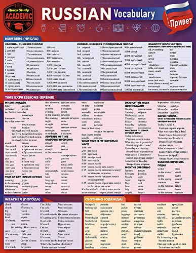 Russian Vocabulary: A Quickstudy Laminated Reference Guide Front Cover