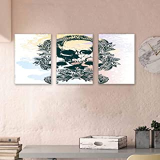 """Skull Hand Painted Paintings Scary Deadly Rocker Skeleton Trio with Frames from Leaves Image Wall Decoration Ready to Hang 16""""x24""""x3 Piece Emerald Lilac Pale Yellow"""