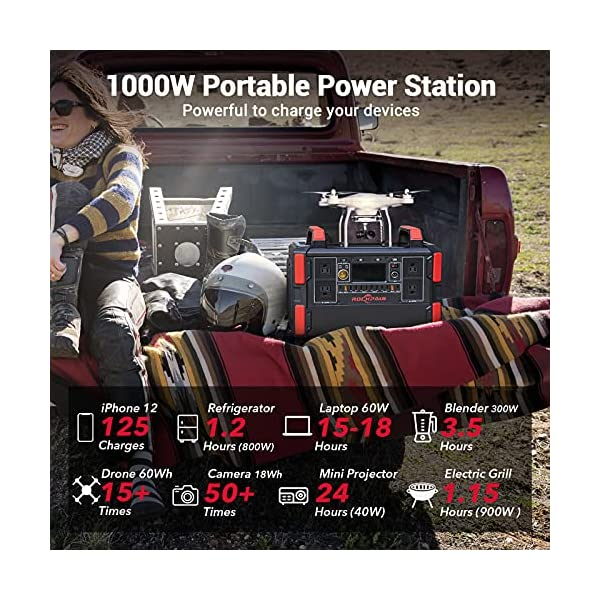 Rockpals Portable Power Station 1000W, 1048Wh/327600mAh Solar Generator with 4x110V Pure Sine Wave AC Outlet, CPAP…