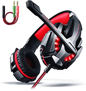 LED Gaming Headset - Surround Sound Gaming Headset, Professional Gaming Headset with Microphone Noise Isolating LED Light for PC Games PS4 and 3.5mm Audio Splitter