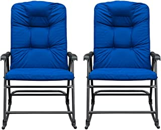 SunLife Outdoor Foldable Rocking Chair Set, Modern Patio, Backyard, Camping Lounge Rockers with Blue Padded Cushions, Set of 2