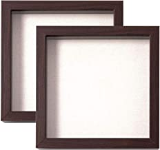 Muzilife 8x8 Shadow Box Picture Frame with Linen Board Deep Wood Glass Display Case Memory Box Baby Sports Memorabilia, Pi...