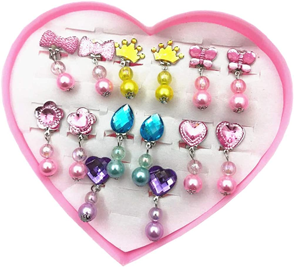 Fashion Women's Earrings + Storage Box,7 Pairs Girls Faux Pearl Dangle Ear Clip Earrings Non Piercing Princess Jewelry - LM-B01