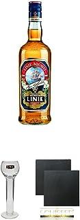 Linie Aquavit Norwegische Spezialität 3,0 Liter  Linie Stielgläser mit Eichstrich 2cl 6er Karton  Schiefer Glasuntersetzer eckig ca. 9,5 cm Durchmesser 2 Stück