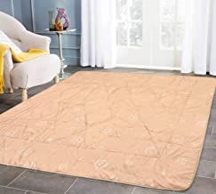Linenwalas Imported Multi Purpose Water Resistant Quilted Floor Mat/Carpet with Anti Slip Backing for Bedroom/Living Area/Home - Ivory - 152.4 x 198.12 cm
