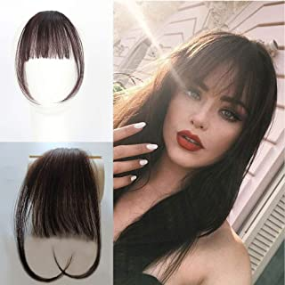 Vowinlle Air Hair bangs Clip on Real Hair #4 Dark Brown Clip in Bangs 100% Human Hair One Piece Straight Fringe Hairpiece Accessories (Flat Bangs with Temples)