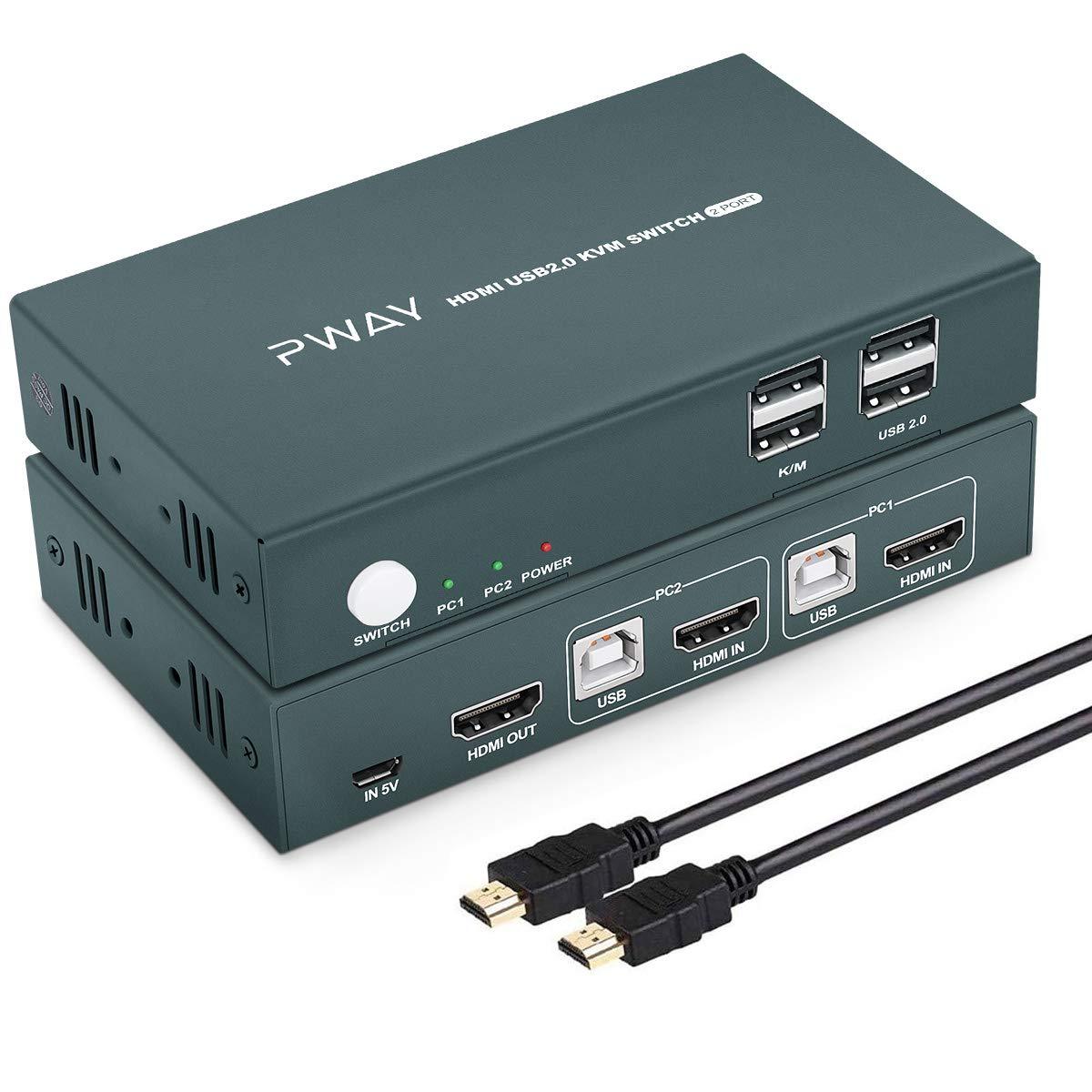 HDMI KVM Switch 2 Port Box 2021 new USB Hub UHD Out 1 in 4K@30Hz Very popular!