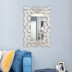 """Yesesion Decorative Wall Mirror, Large Hanging Beveled Silver Mirror for Bathroom Vanity, Living Room, Entryway, Bedroom, Modern Elegant Accent Mirror Set for Home Decor, Wall-Mounted, 35.5"""" x 23.6"""""""