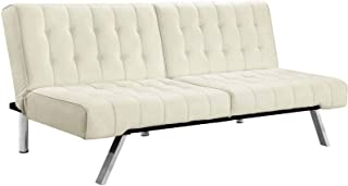 SELVA Faux Leather Futon Tufted Convertible Lounger Mattress Sofa Bed Split White | Modern Click-Clack Technology Versatile Heavy Duty Metal Leg | for Home House Living Room Bedroom Apartment Decor