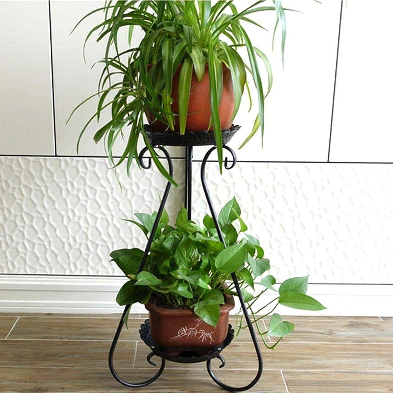 Flower Stand Metal 2 Layer Plant Flower Pot Display Stand Floor Storage Rack, Garden Terrace Room Built-in Frame (White, Black, Bronze; 32cm  65cm) (color   Black, Size   32cm65cm)