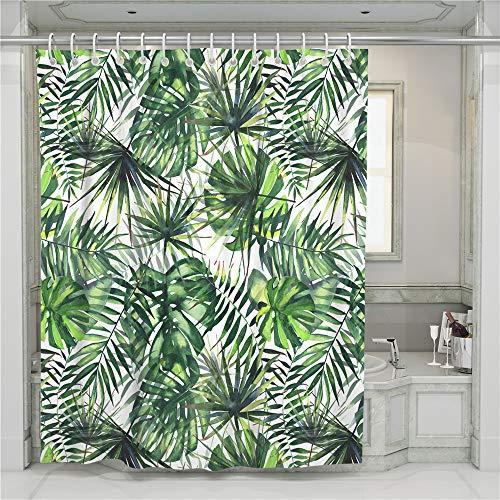 Chickwin Duschvorhang Wasserdicht Anti-schimmel, Waschbar 3D Pflanze Monstera Grünes Blatt Druck Polyester Bad Vorhang mit 12 Duschvorhangringe für Badezimmer Decor (Grüner Wald,90x180cm)