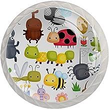 Ladeknoppen Ronde Kristal Glazen Kabinet Handgrepen Trek 4 Pcs,Insecten