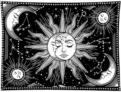 Tapiz Pared En Blanco Y Negro, Tapices Para Colgar En La Pared Con Sol Y Luna, Tapicería Sol Ardiente Con Estrellas, Tapiz Hippie Psicodélico Para Decoración Del Hogar Del Dormitorio -51 'X59'