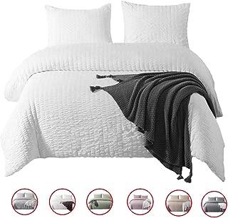 DuShow King Duvet Cover Set Solid White Bedding Set 3 Pieces(1 Duvet Cover + 2 Pillowcases) Seersucker Hotel Quality Comforter Cover Set with Zipper Closure